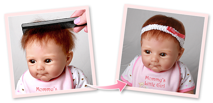 Before and after photos of an Ashton-Drake Galleries doll to illustrate how to properly put a headband on your baby doll