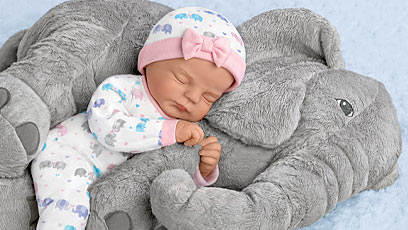 Elle Baby Doll And Peanut Plush Elephant Set
