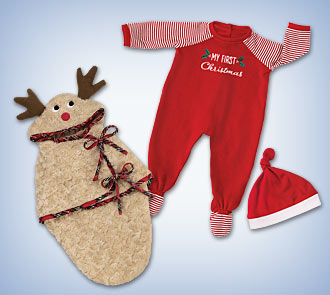 Reindeer Bunting Baby Doll Accessory & Christmas PJs Baby Doll Accessory Set